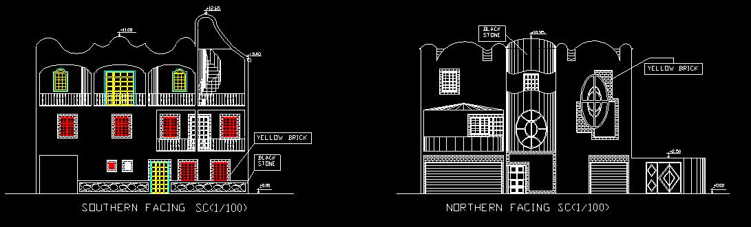 نقشه های معماری یک ساختمان دو طبقه ویلایی